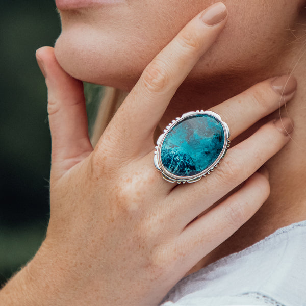 Cordelia Malachite Chrysocolla Ring | US 8 (UK Q)