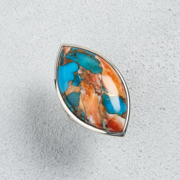 Azami Spiny Oyster Turquoise Marquise Ring