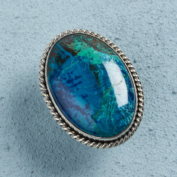 Morgana Malachite Chrysocolla Ring | US 6.5 (UK N)