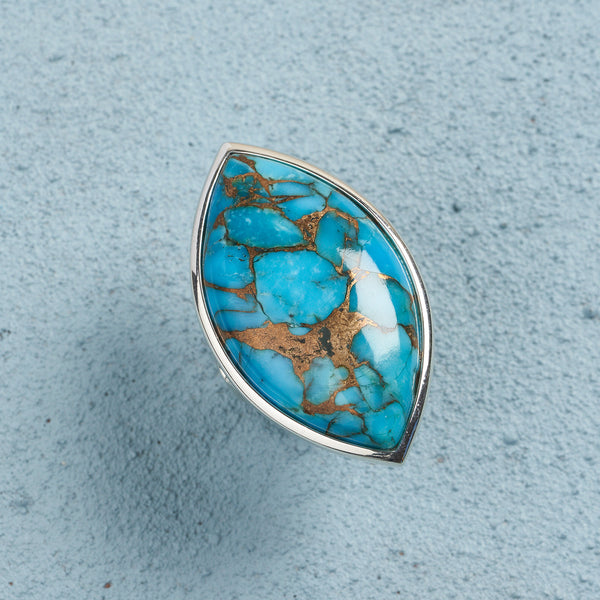 Azami Blue Copper Turquoise Marquise Ring