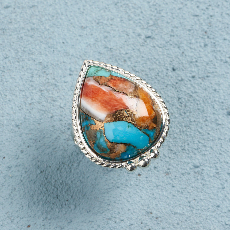 Cora Spiny Oyster Turquoise Ring