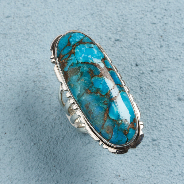 Aria Blue Copper Turquoise Ring | US 8 (UK Q)