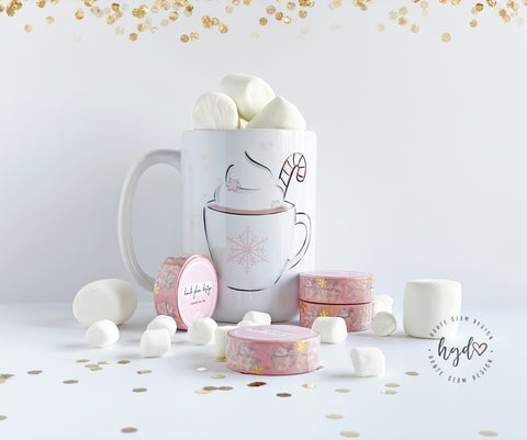 OOPS Washi - Peppermint Hot Cocoa Gold Foil Washi Tape