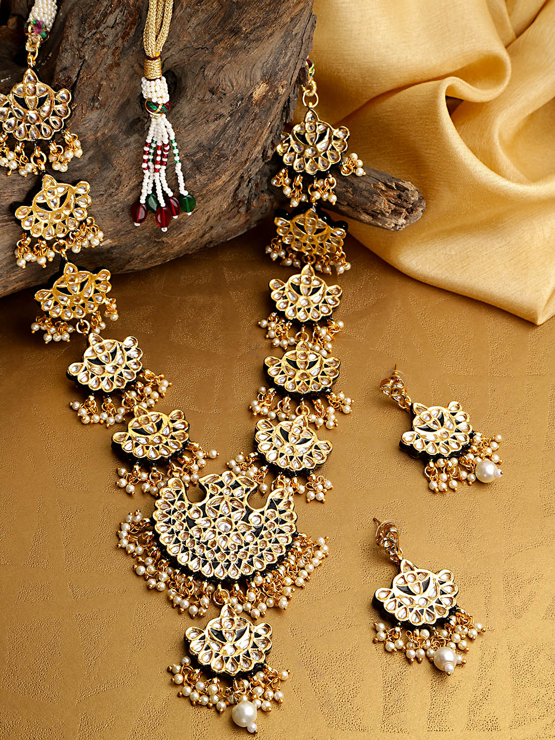 Indian Green Traditional Meena Matka Designed Long Gold Plated Rani Haar With Earrings Jewelry Set - FashionEmpire