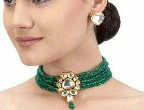Green Traditional Emerald Pearl Gold Plated Kundan Choker Necklace - FashionEmpire