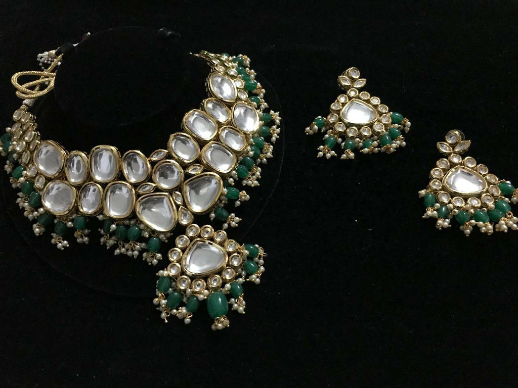 Gold Plated Kundan Choker Necklace set with earrings  - FashionEmpire