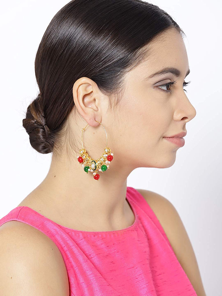Fashion Empire | Punjabi Ethnic Gold Plated W Colorful Pearls Jhumki Earring - FashionEmpire'86