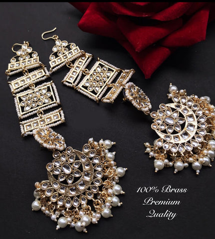 Indian Long Jadau Kundan With Gold-Toned Classic Jhumka - FashionEmpire'86