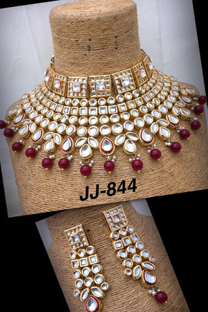 Gold Plated Kundan Choker Set with Earrings - FashionEmpire
