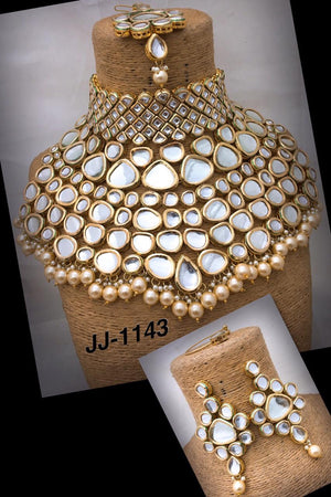 Indian Traditional Bridal Choker Kundan Necklace fashion Jewelry Set - FashionEmpire