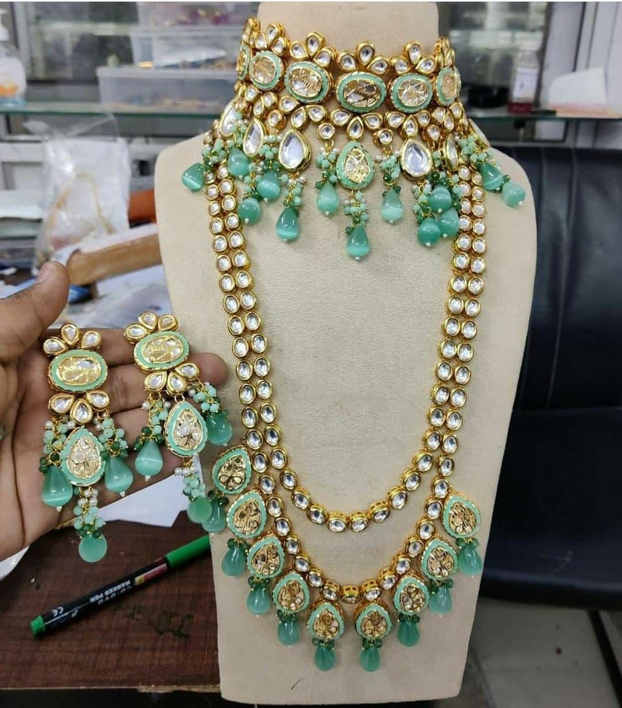 Heavy Full Wedding necklace, 2 Choker Necklace in this Bridal Set , Kundan Choker Necklace/ Jewelry with drop earrings, Rajwada necklace