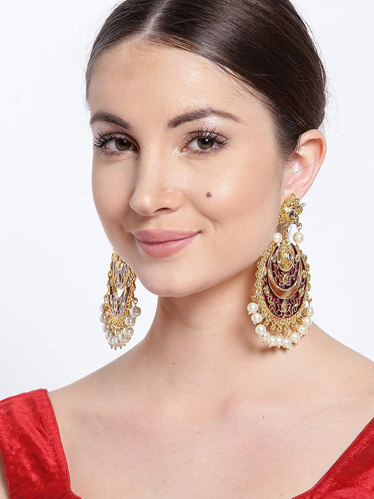 Fashion Empire | Fashionable Bollywood Designer Gold Plated Kundan Meenakari Earring - FashionEmpire'86