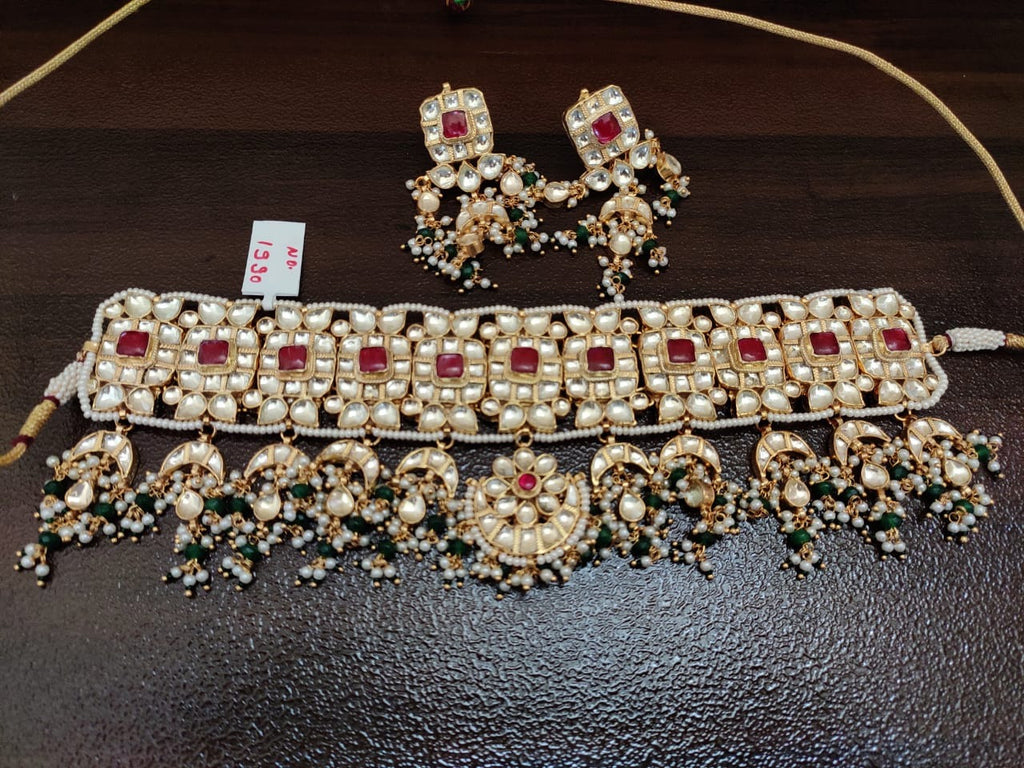 Beautiful Stunning Wedding Choker necklace, Earrings , Meenakari- Kundan Necklace/ Jewelry with drop earrings, Rajwada necklac