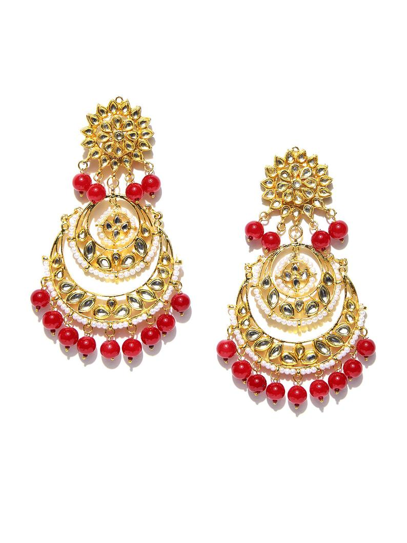 Indian Ethnic Gold Plated antique Kundan Chandbali Earrings - FashionEmpire