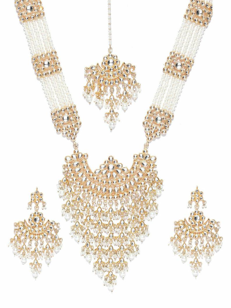 Indian Bollywood Gold Plated Kundan W Pearls & Glass Raanihaar Necklace - FashionEmpire