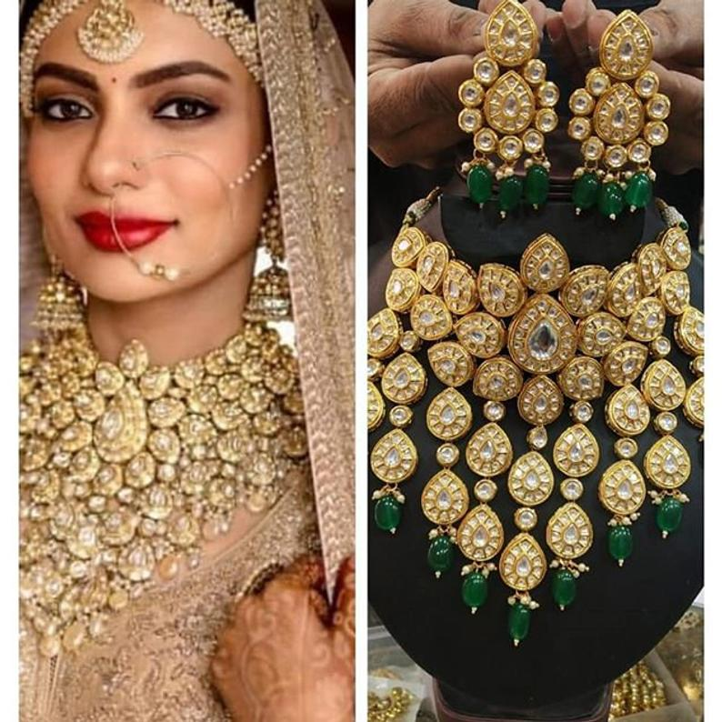 Earrings,Indian Jewelry,Bridal Jewelry,Bollywood,Ethnic,Statement,Polki Necklace,