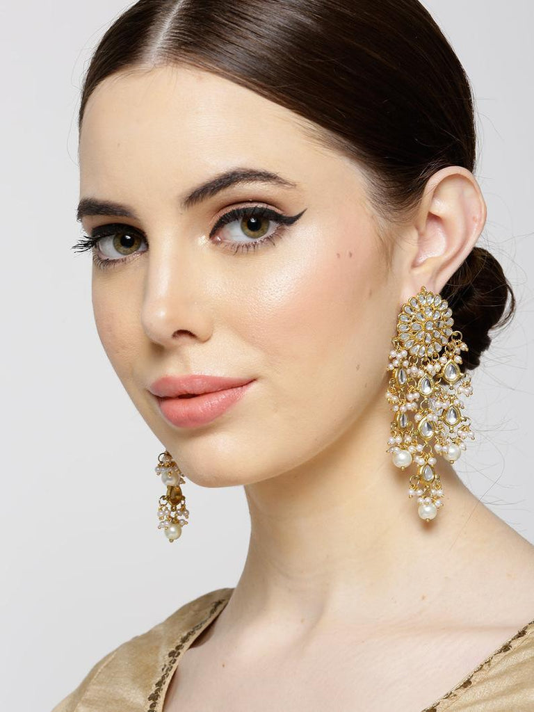 Bridal Gold Plated Kundan Polki Earrings Drop Pearls Long jhumka
