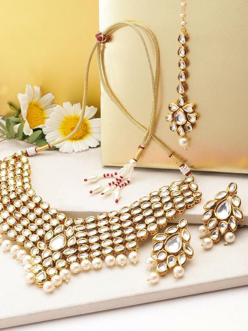 Indian Kundan High Quality Wedding Choker Necklace Set - FashionEmpire