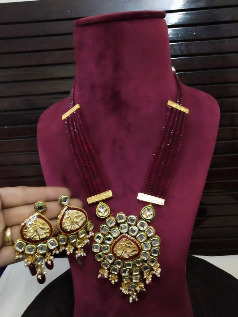 Kundan/ Pearl Raanihar Bridal Kundan Beads Set with Earrings, beautiful Pendent, Indian Jewelry, Bollywood, Ethnic, Statement Necklace,