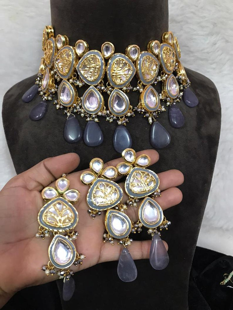 Fine quality Sparkly kundan Meenakari choker nacklace  pearls gold plated  necklace
