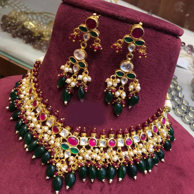 Fine Kundan choker necklace gold with jhumkas in Gold Plated, handmade jewelry