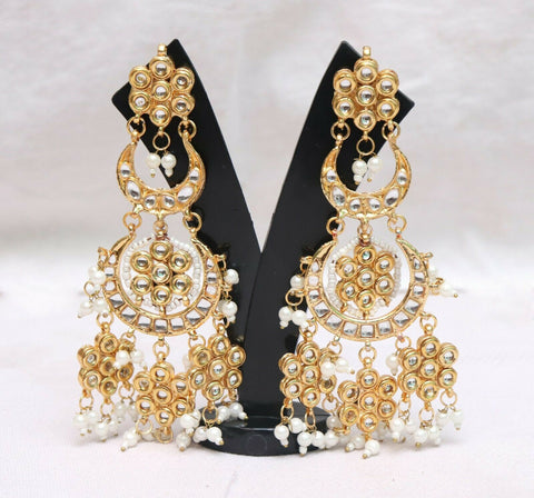 Indian Bollywood Trendy Enamel Unique Designed Pearl Earring - FashionEmpire'86
