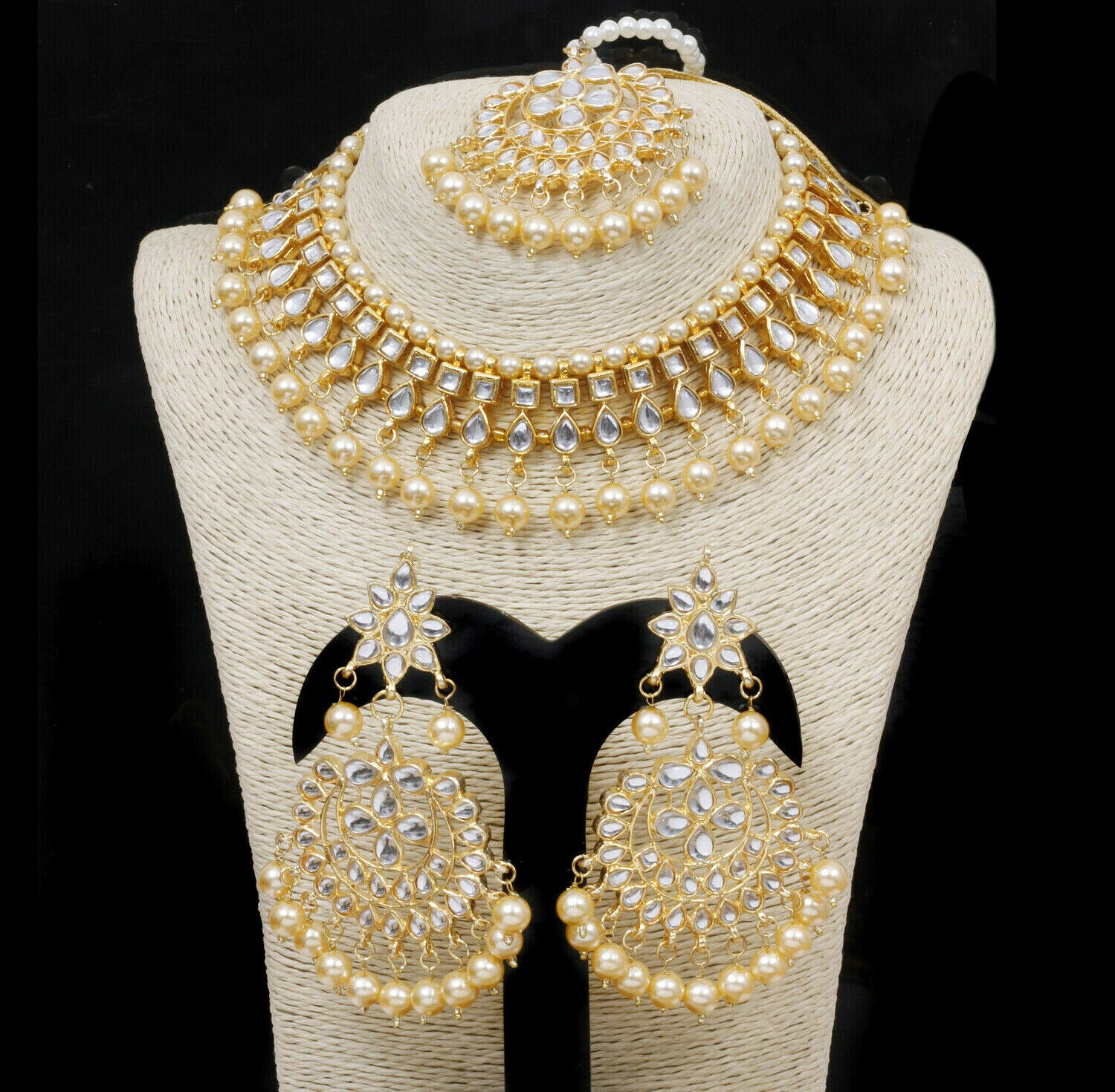 Pakistani Traditional Handmade Kundan Gold Plated Necklace With Earrings Jewelry Set - FashionEmpire'86