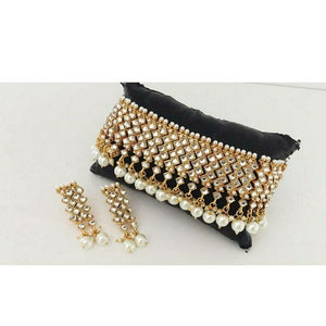Indian Kundan Choker Necklace Set Bollywood Style Bridal Earrings Gold Fashion