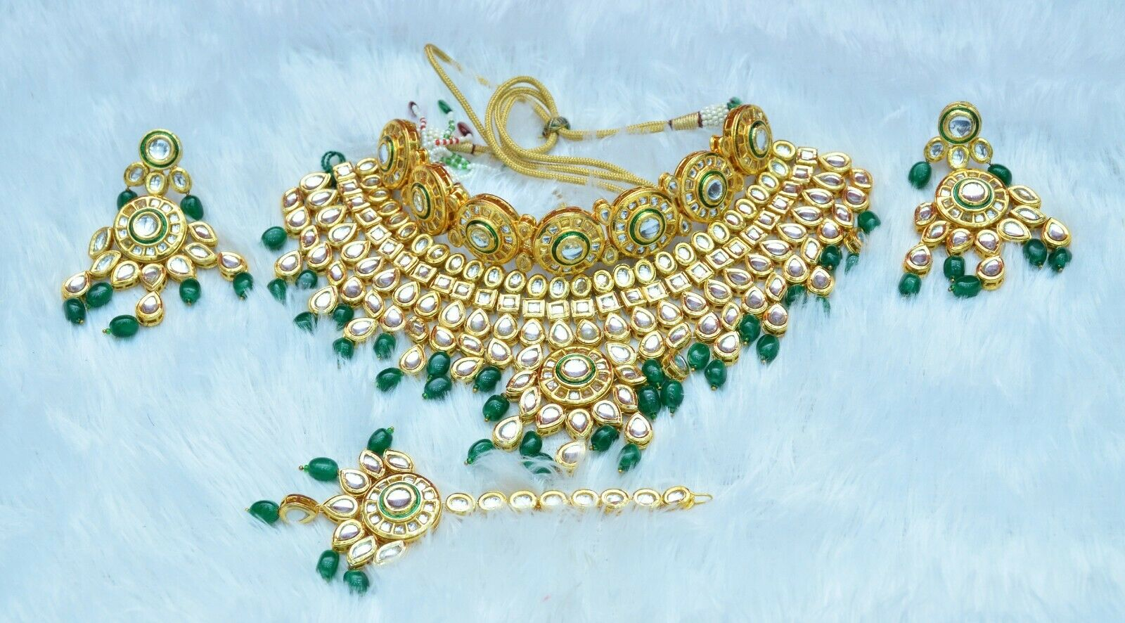 Indian Green Kundan Gold Plated Heavy Bridal Choker Jewelry Set - FashionEmpire
