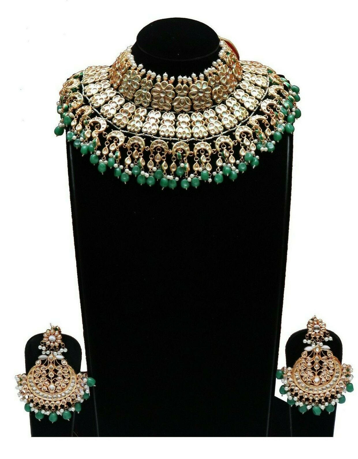 Indian Bridal Kundan Studded Green Pearl Choker Jewelry Set - FashionEmpire'86