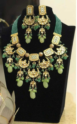 Beautiful Hi-Quality Handmade Indian Rani Haar Necklace With Earrings - FashionEmpire'86