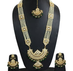 Indian Handmade Ethnic Traditional Unique Kundan Line Pearls Gold Plated Jewelry Set - FashionEmpire'86