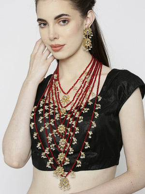 Indian Ethnic Bollywood Styled Red Seven Long Line Wedding Necklace Set - FashionEmpire