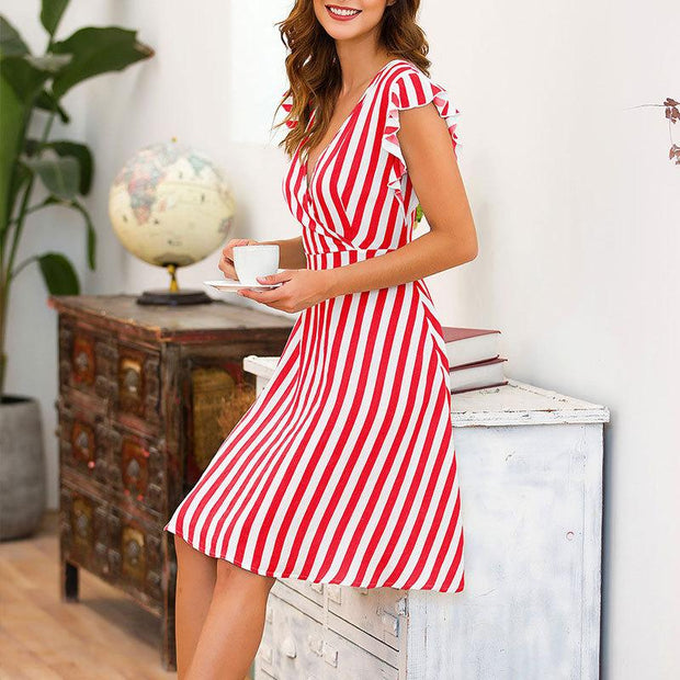 Women Ruffle Sleeveless Striped Midi Dress