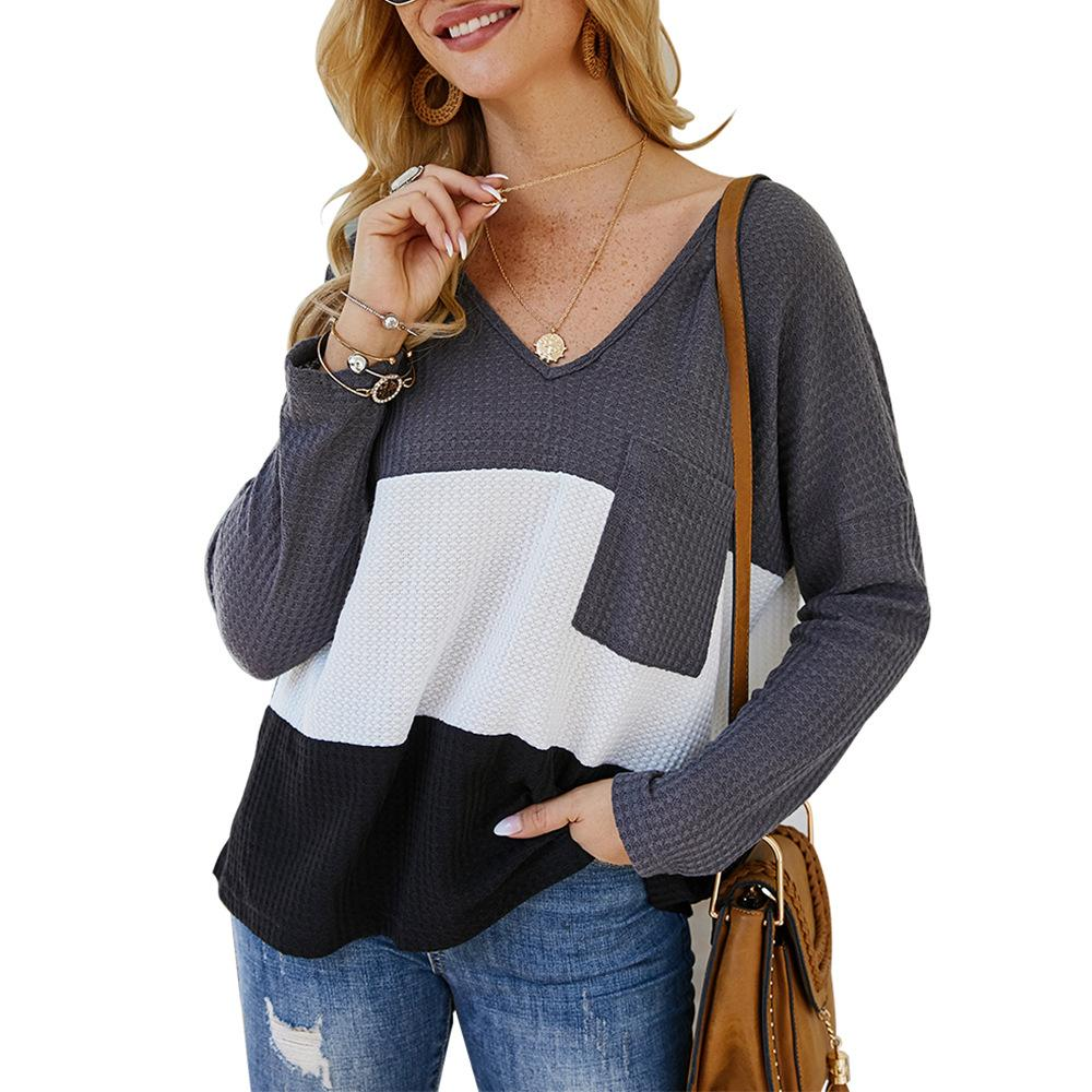 V-neck Patchwork Color Long Sleeve Knitwear