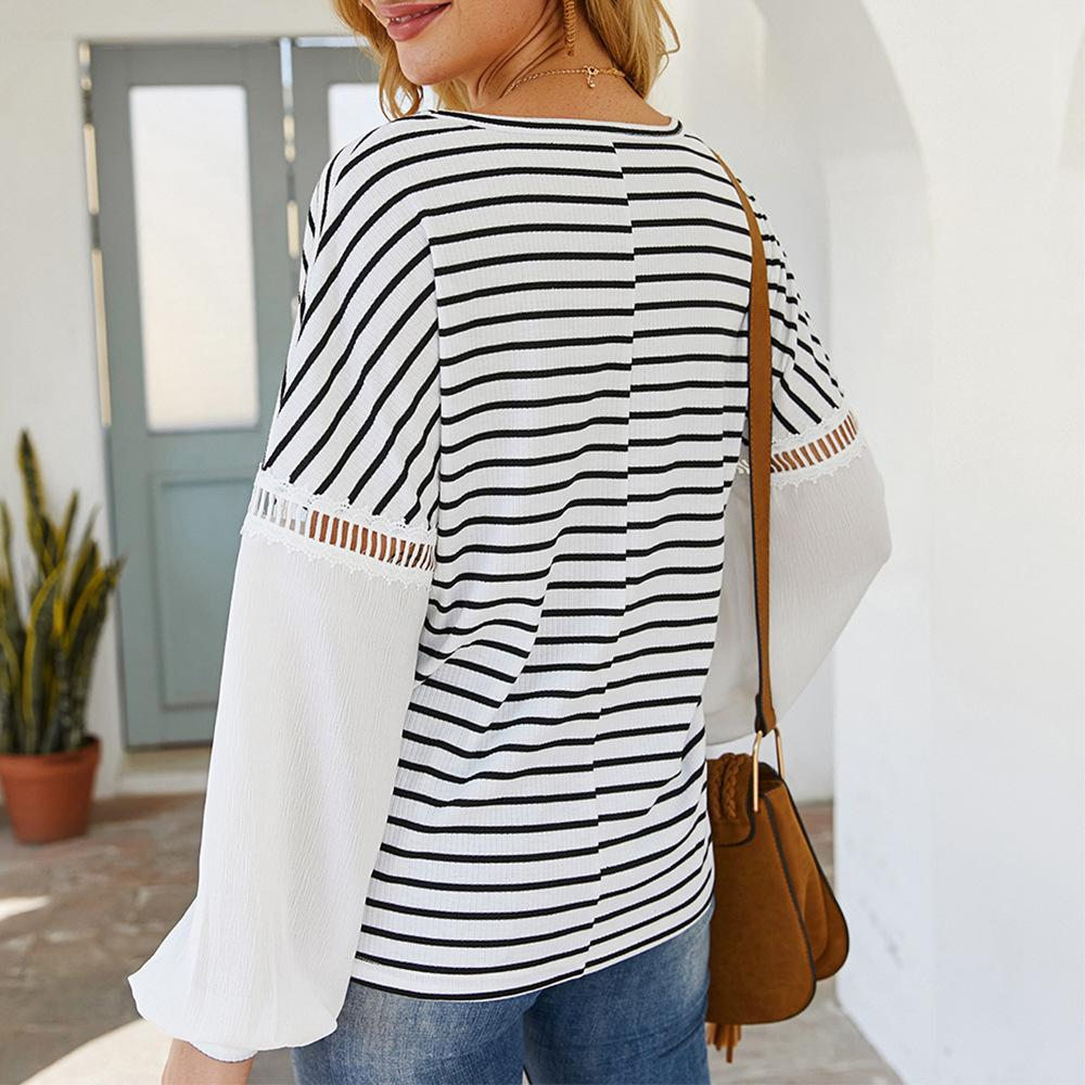 V-neck Patchwork Striped Blouse