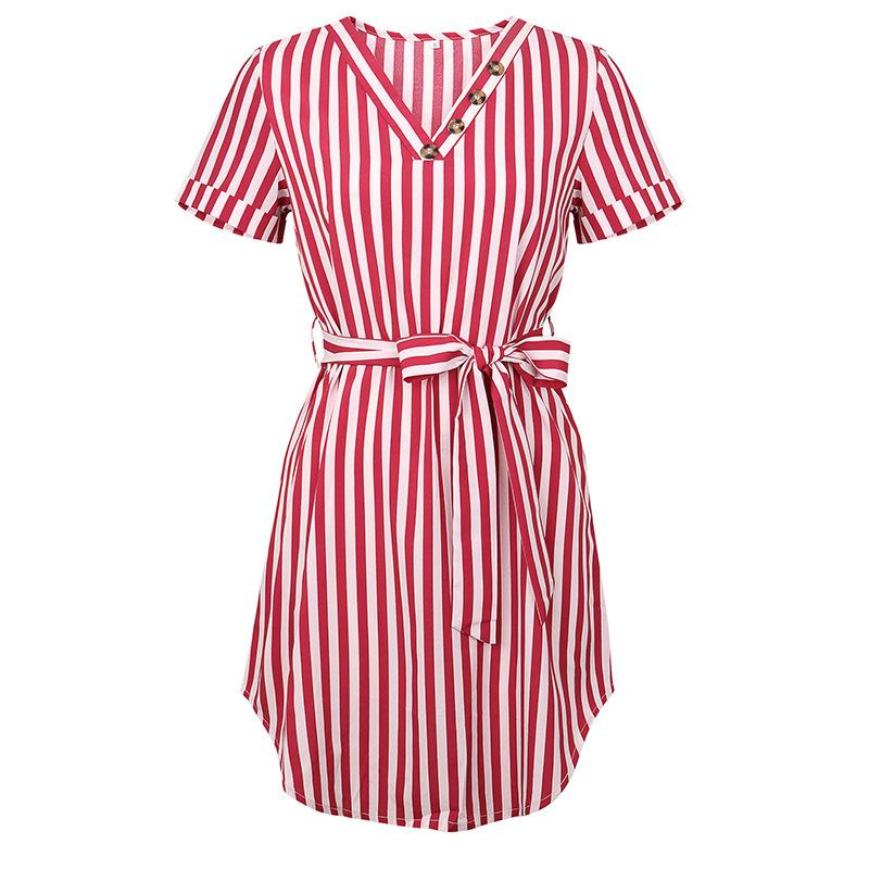 Women High Waist Striped Shirt Dress