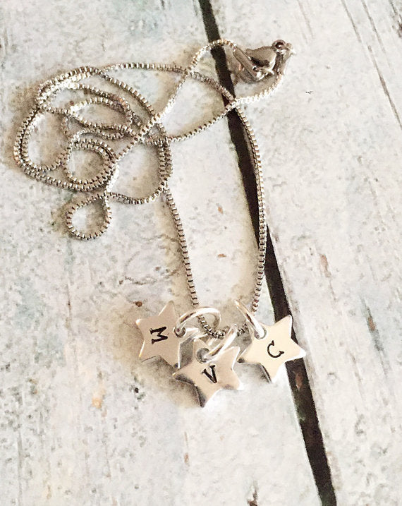 Initial necklace - Star necklace - Hand stamped