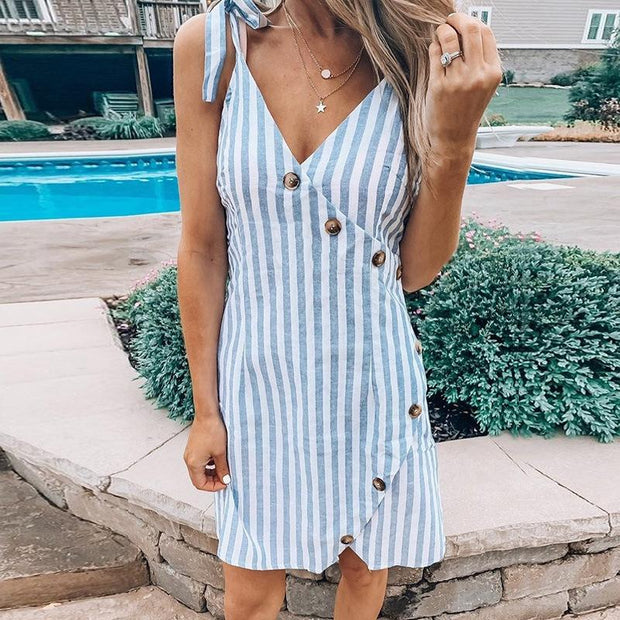 Women Striped Knotted V-neck Shirt Dress