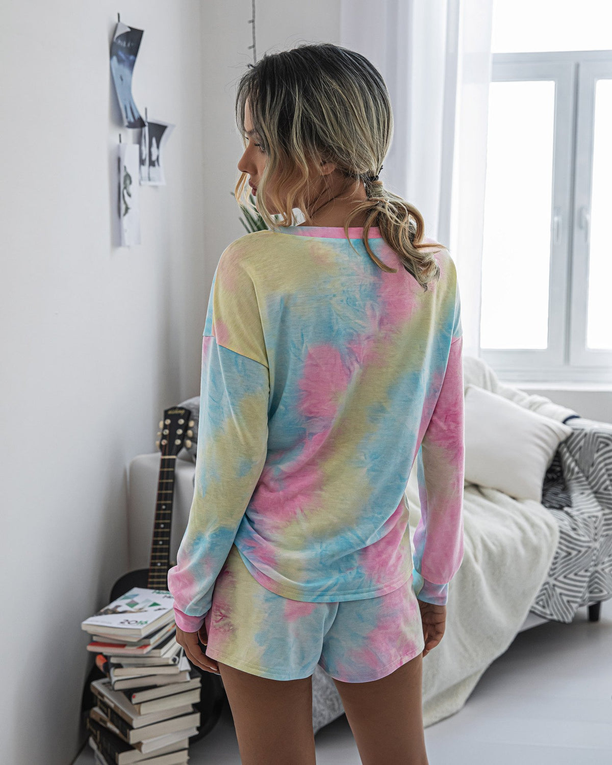Crew Neck Womens Tie-dye Sets Sleepwear Loose Sportswear Household