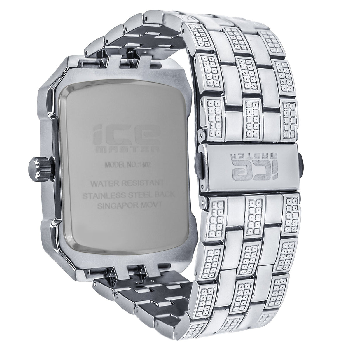 Icemaster Mens Silver on Silver Dial Crystal 2Row
