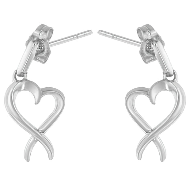 Sterling Silver Dangle-Heart Earrings