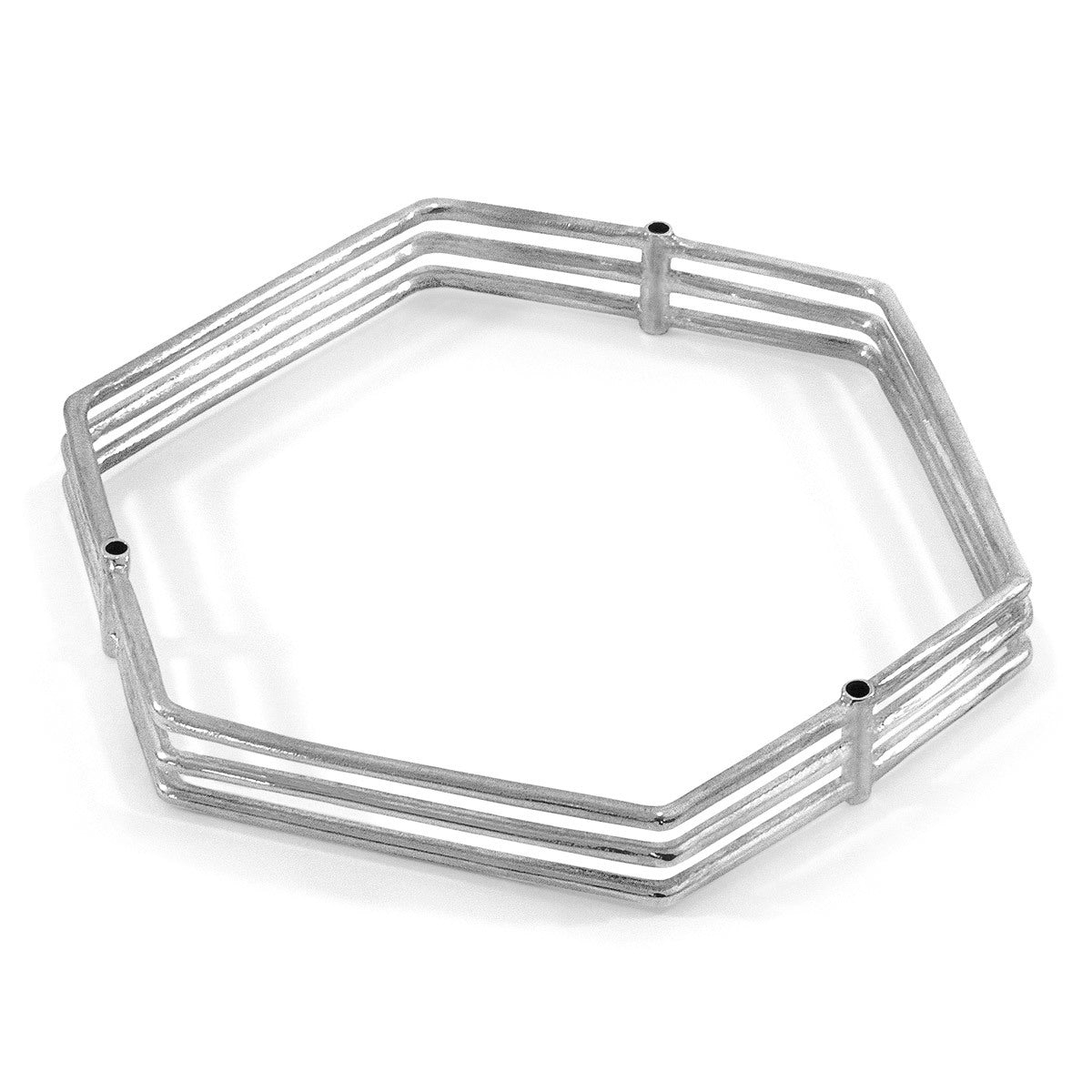 Walton Tri-Rail Maxi Geometric Silver Bangle
