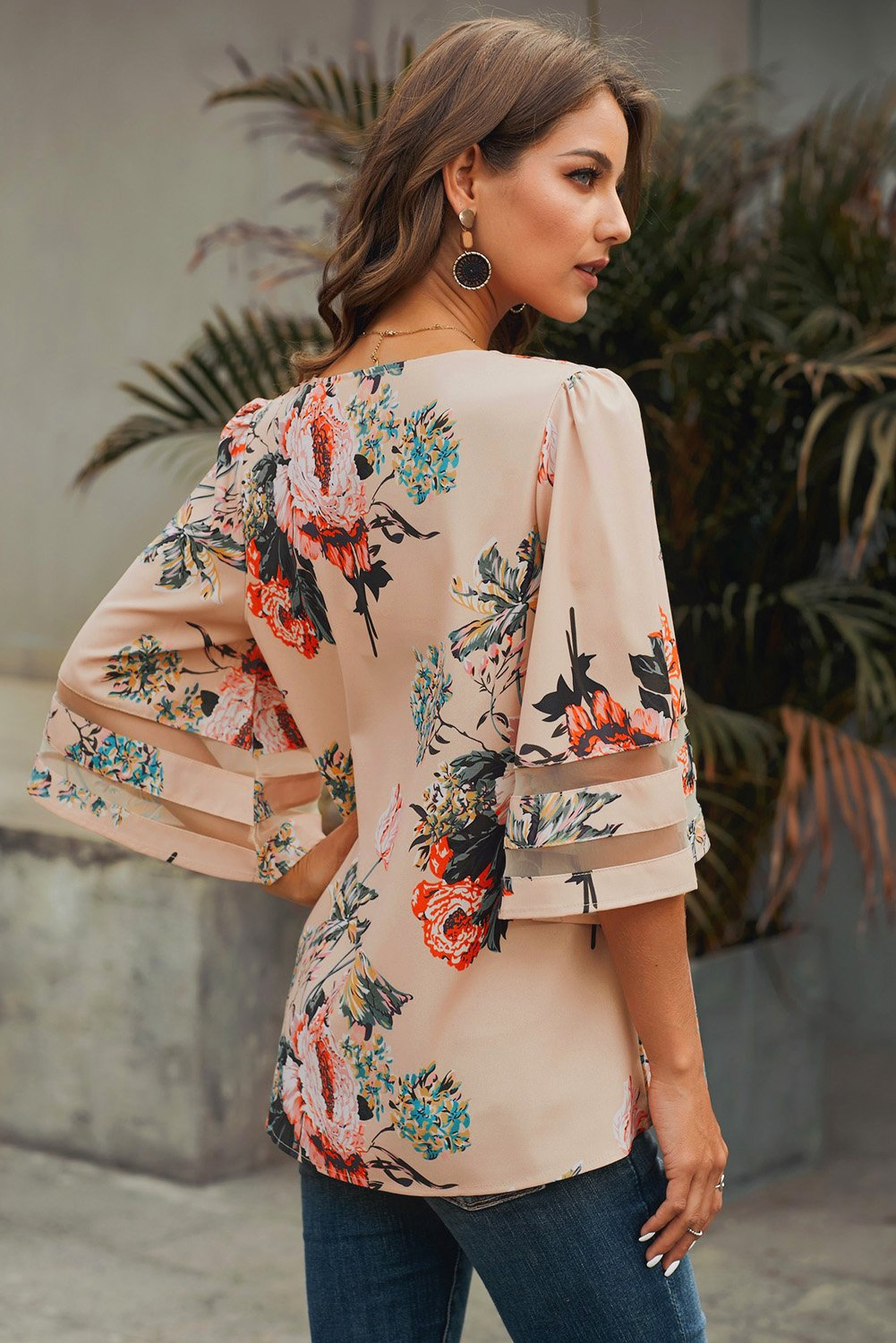 Apricot 3/4 Flared Sleeve Floral Chiffon Blouse