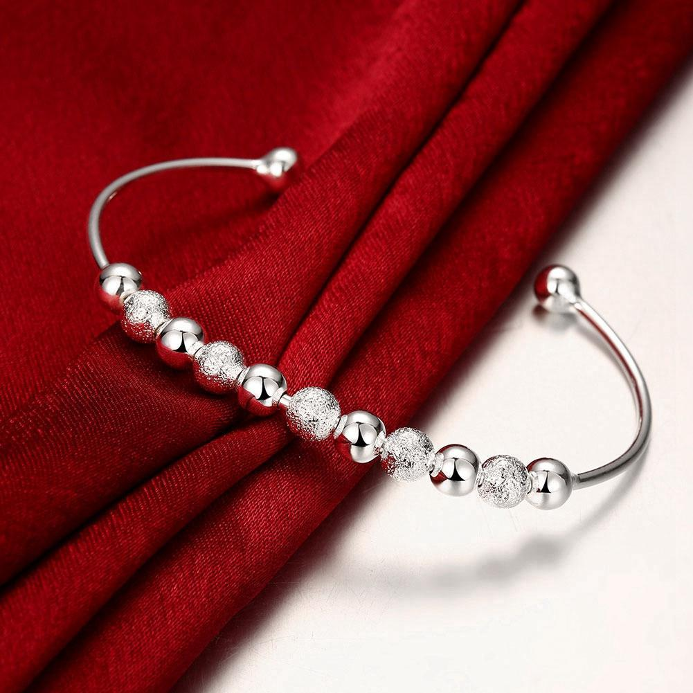 Silver Multi Beaded Open Bangle