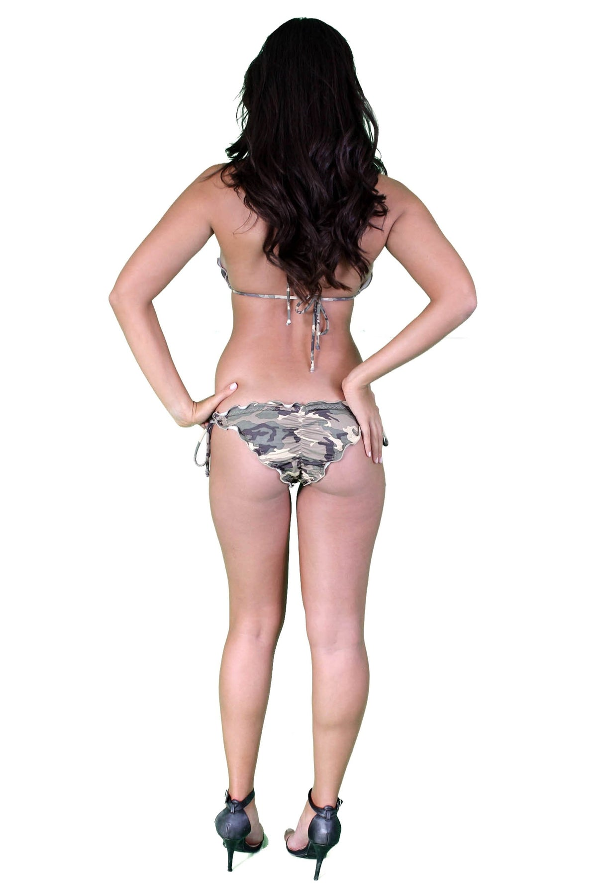 Women's Juniors Ruffled Camo Bikini Set Swimwear