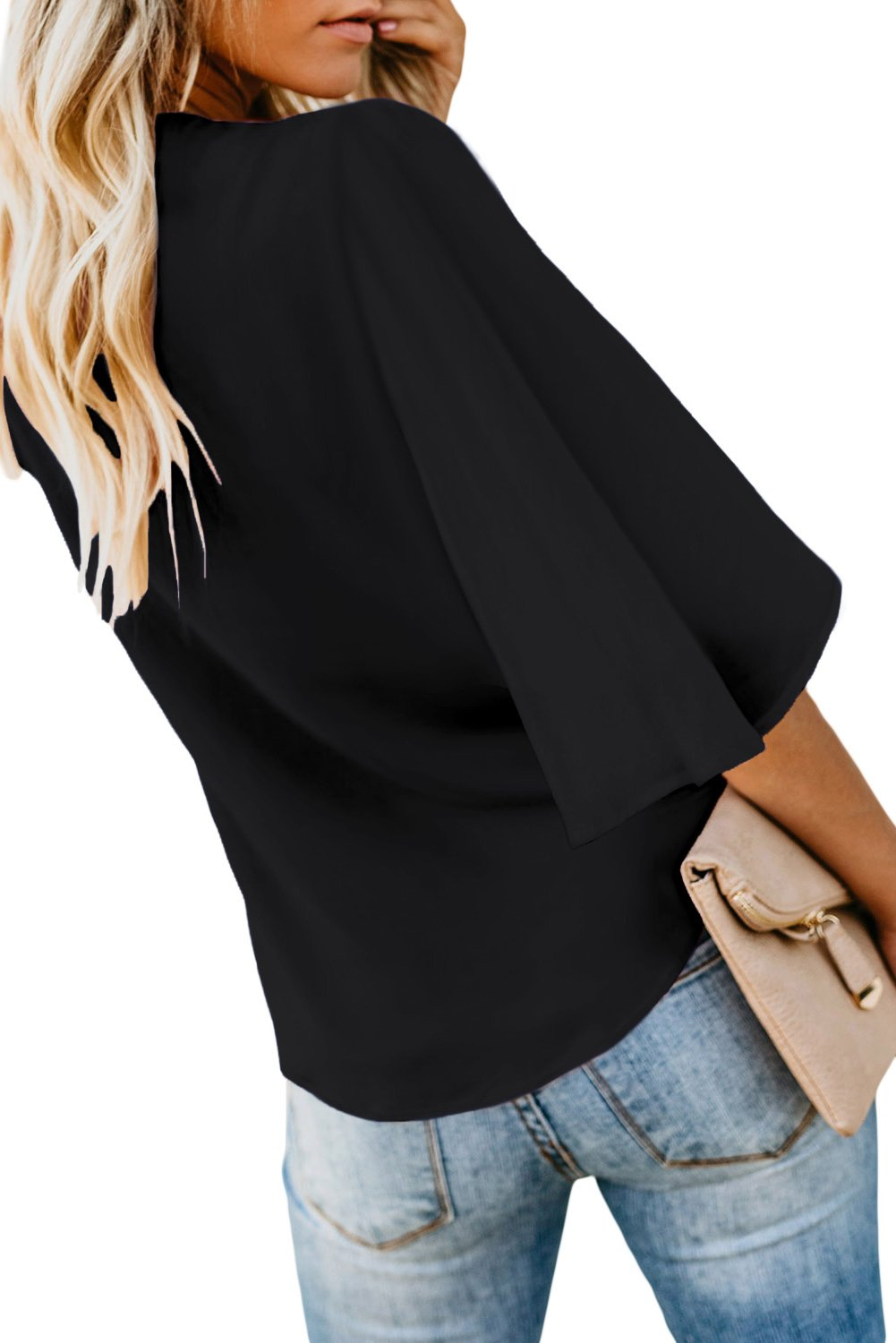Casual Black Button Tie Blouse Top