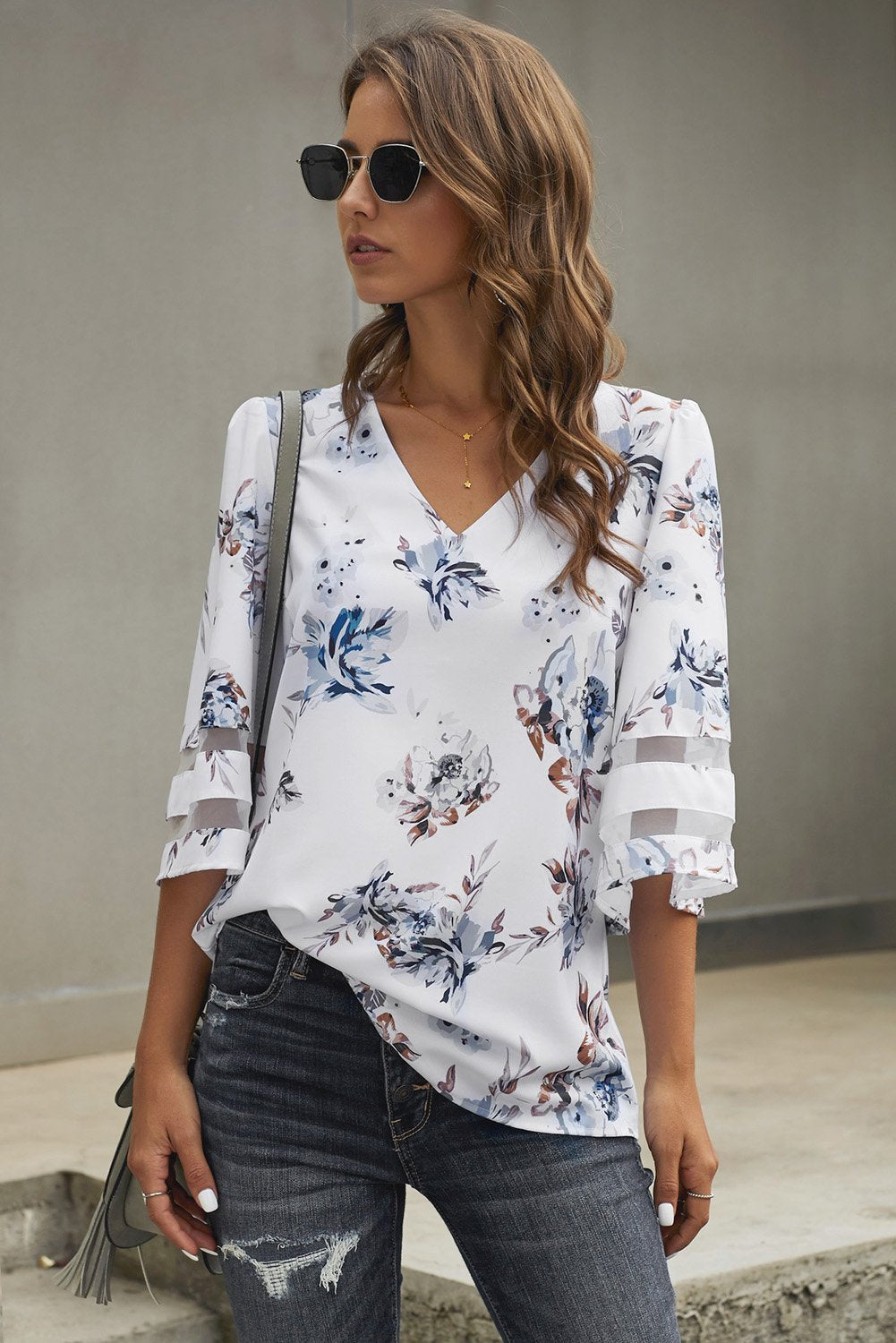 Chic 3/4 Flared Sleeve White Floral Blouse