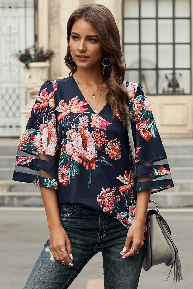 Chic Red 3/4 Flared Sleeve Floral Chiffon Blouse