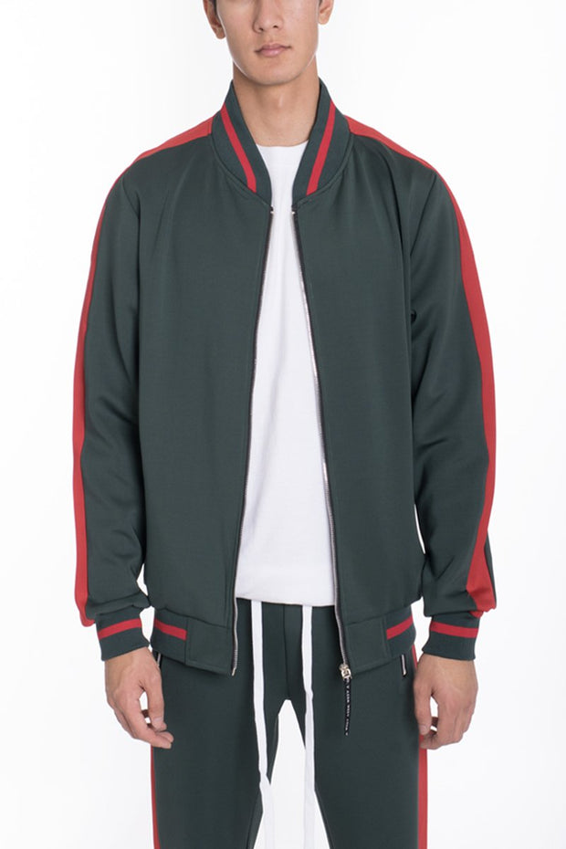 RALLY TRACK JACKET- GREEN/RED